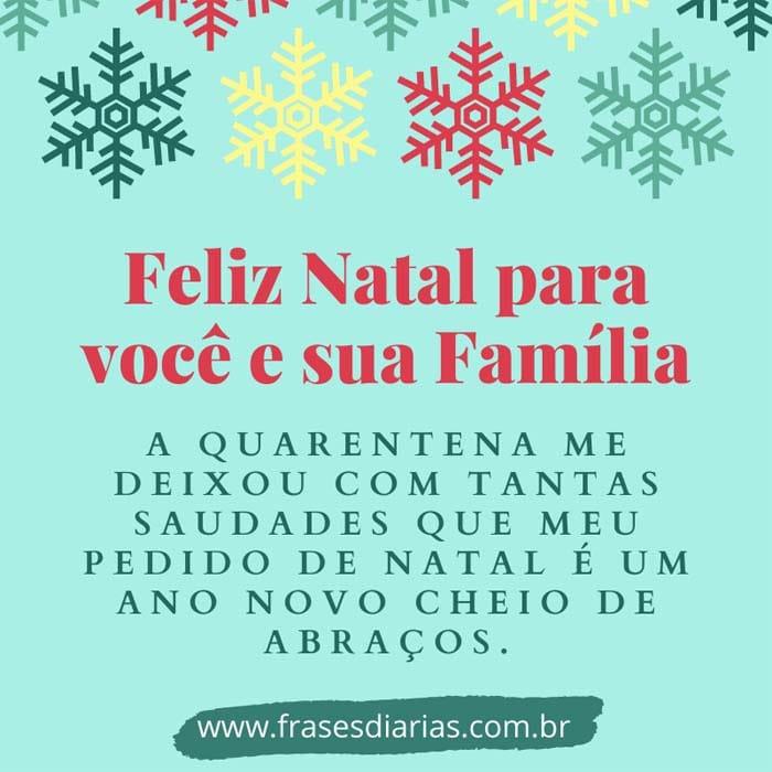 mensagem de Feliz Natal para você e sua família em tempo de pandemia